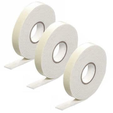 3 x 2.5 metre rolls 18mm DOUBLE SIDED STICKY FOAM SELF ADHESIVE TAPE